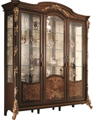 Arredoclassic Sinfonia Walnut Italian 3 Glass Door Display Cabinet