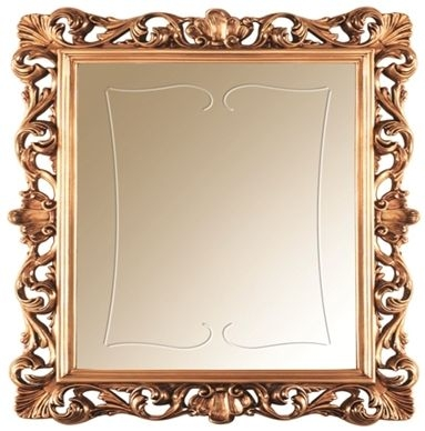 Arredoclassic Sinfonia Walnut Italian Golden Rectangular Small Mirror