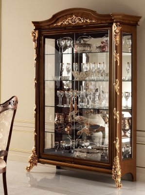 Arredoclassic Sinfonia Walnut Italian 2 Glass Door Display Cabinet
