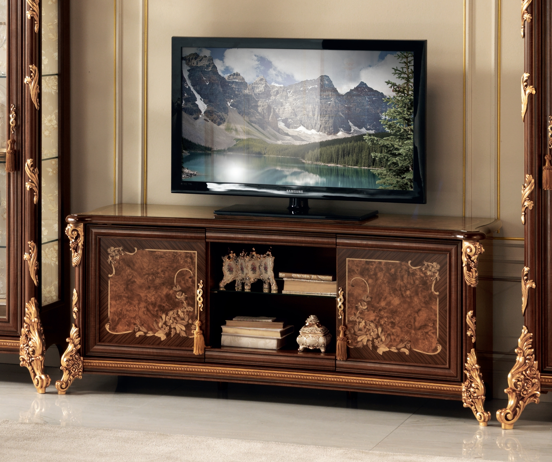 Arredoclassic Sinfonia Walnut Italian 2 Door TV Cabinet