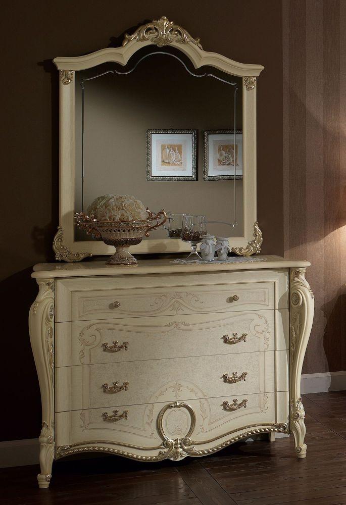 Arredoclassic Tiziano Silver Italian 4 Drawer Dresser with Small Mirror