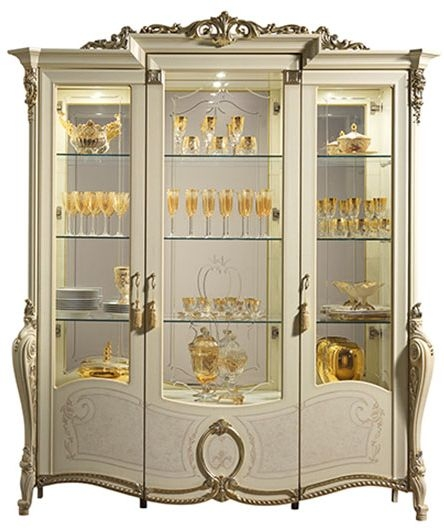 Arredoclassic Tiziano Silver Italian 3 Door Glass Display Cabinet