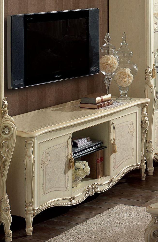 Arredoclassic Tiziano Silver Italian 2 Door 1 Shelf TV Cabinet