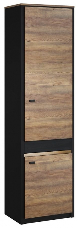 Chatham Oak and Black Tall Cabinet