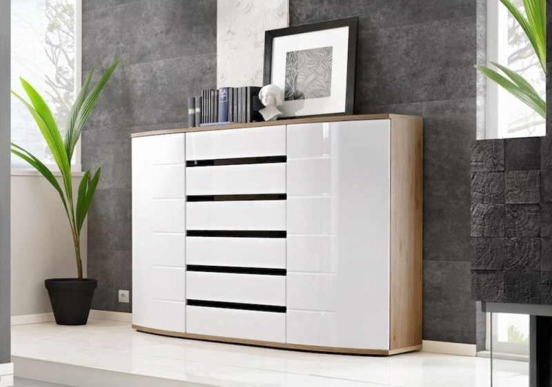 Dunning White High Gloss and Oak Sideboard