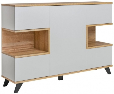 Garfield Grey and Oak Large Cabinet