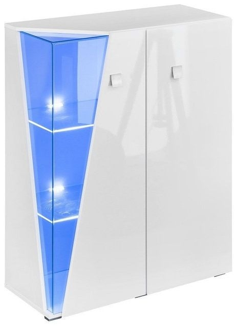 Logan White High Gloss Display Cabinet with LED Light