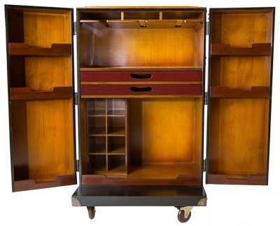 Authentic Models Black Polo Club Bar Cabinet