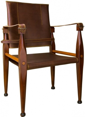 Authentic Models Bridle Leather Campaign Chair
