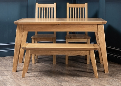 Addison Natural Oak 140cm Extending Dining Table with 2 Chairs and Bench