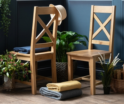 Addison Natural Oak Crossback Dining Chair (Pair)