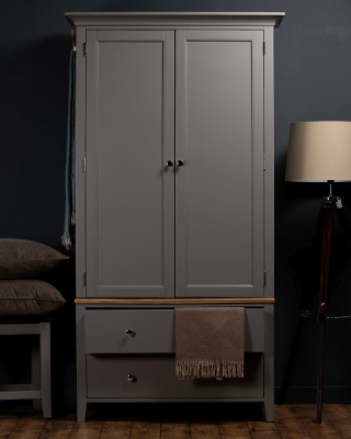 Westcote Oak and Grey Painted 2 Door 2 Drawer Wardrobe