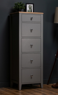 Westcote Oak and Grey Painted 5 Drawer Tall Chest