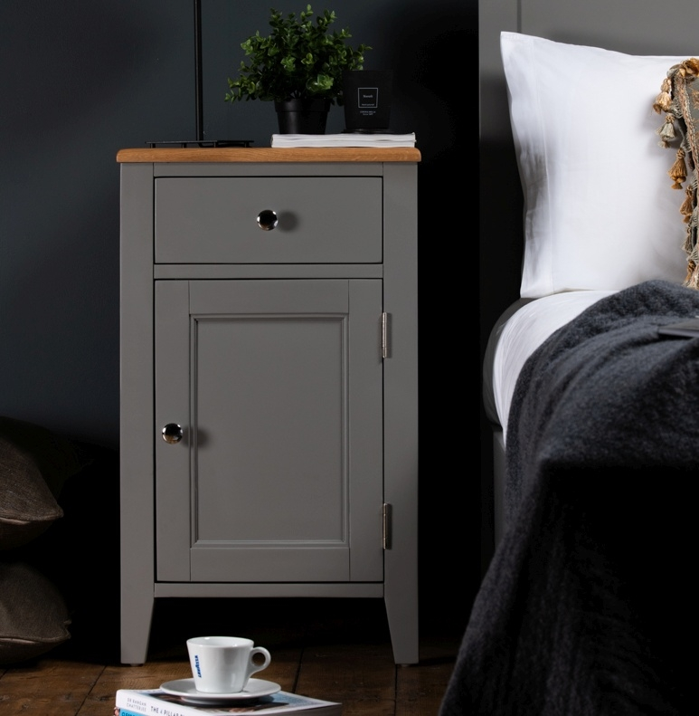 Westcote Oak and Grey Painted Bedside Cabinet