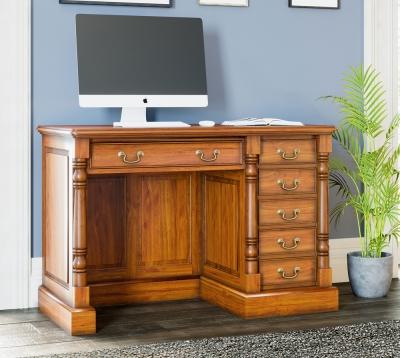 Baumhaus La Reine Mahogany Single Pedestal Computer Desk