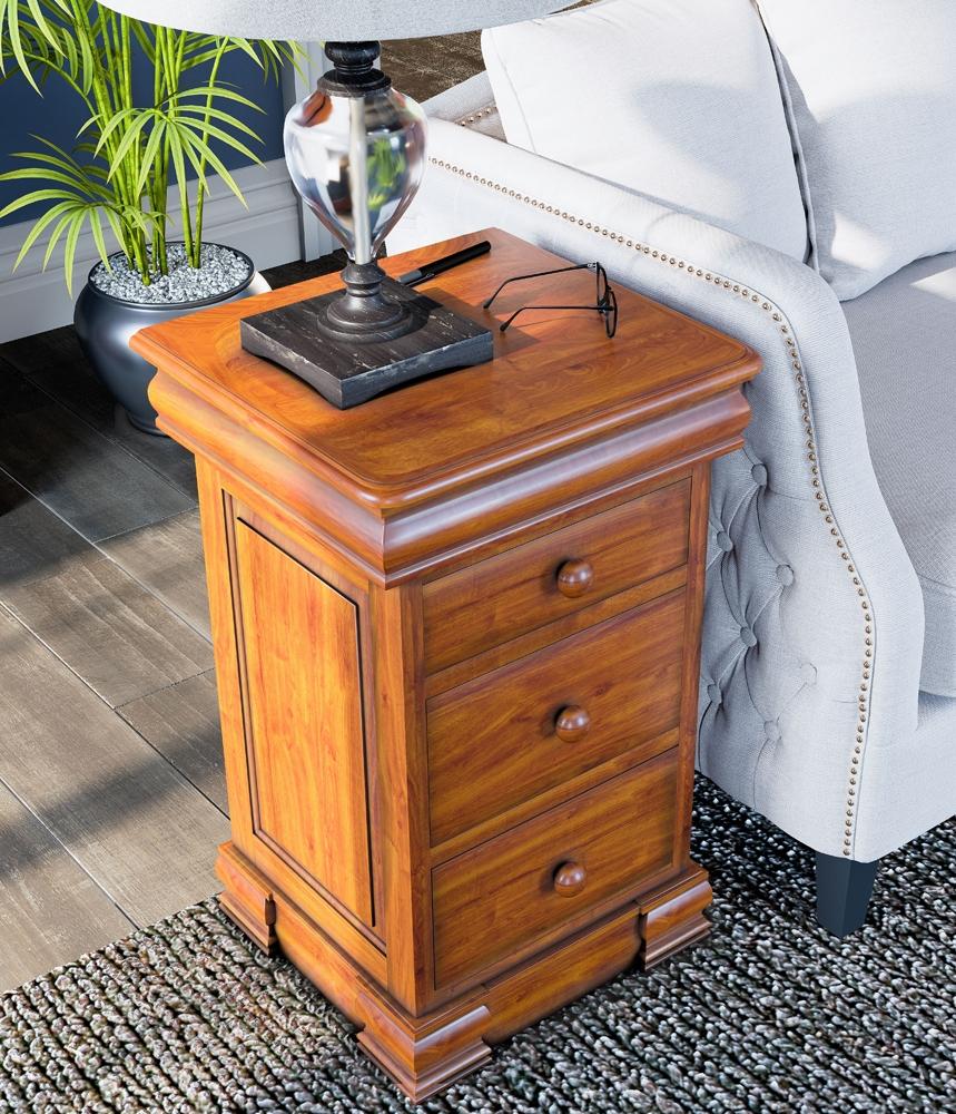 Baumhaus La Reine Mahogany 3 Drawer Bedside Cabinet