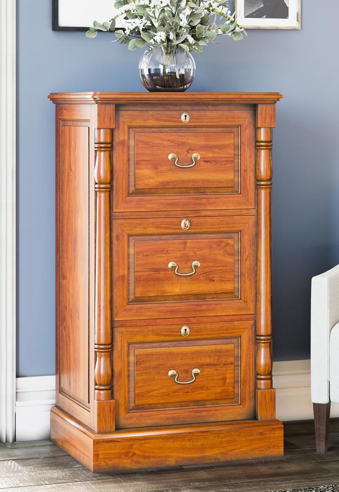 Baumhaus La Reine Mahogany 3 Drawer Filing Cabinet