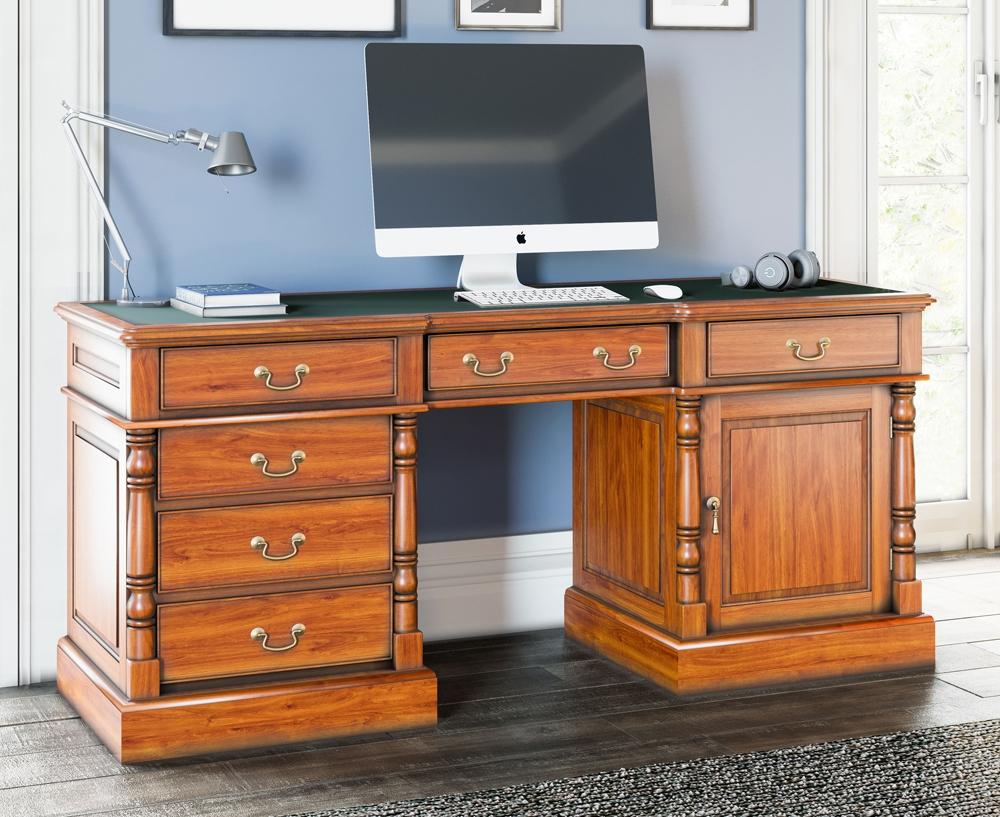 Baumhaus La Reine Mahogany Twin Pedestal Computer Desk