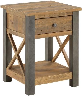 Baumhaus Urban Elegance Reclaimed Wood 1 Drawer Lamp Table