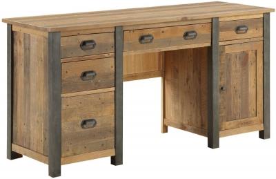Baumhaus Urban Elegance Reclaimed Wood Twin Pedestal Home Office Desk