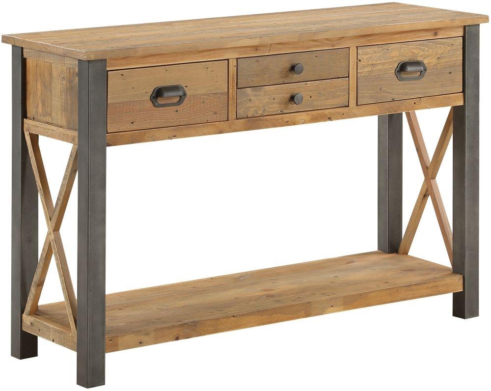 Baumhaus Urban Elegance Reclaimed Wood 4 Drawer Console Table