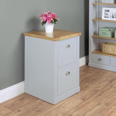 Baumhaus Chadwick Grey Painted Filing Cabinet - 2 Drawer