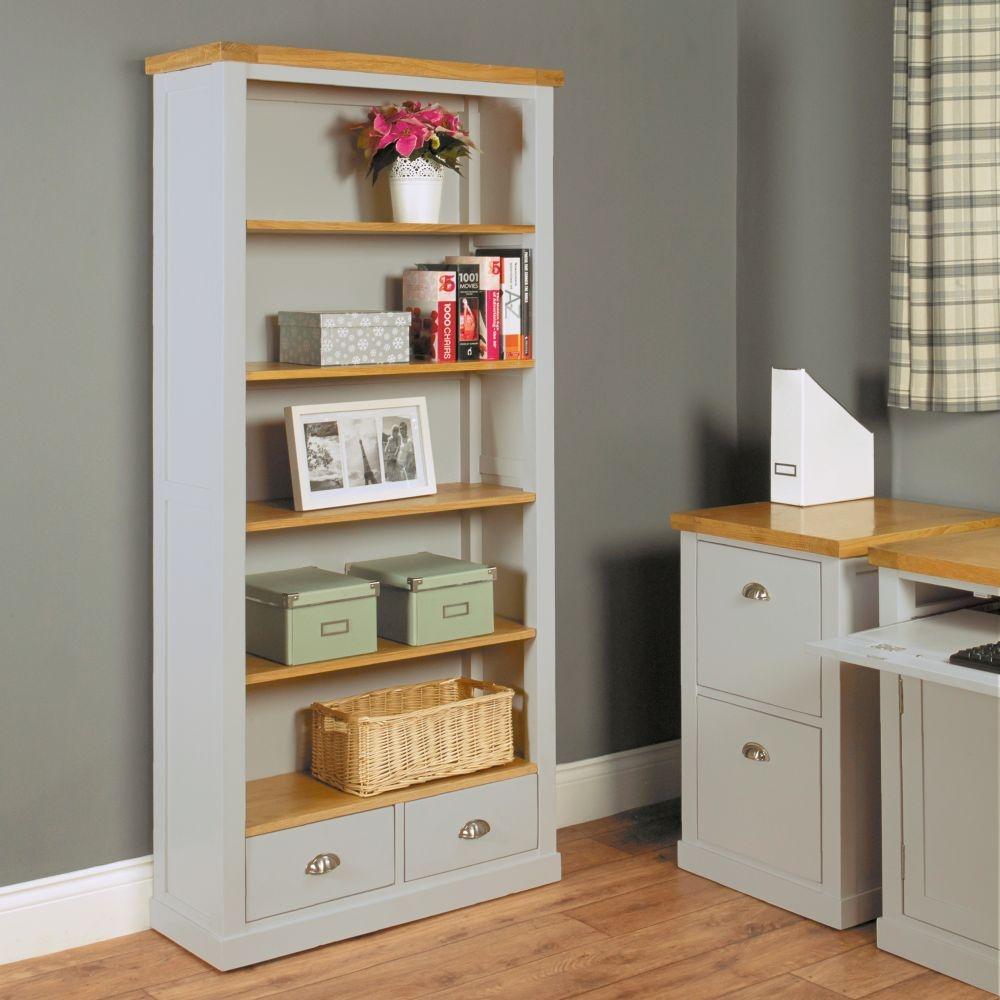Baumhaus Chadwick Grey Painted Bookcase - 2 Drawer Large
