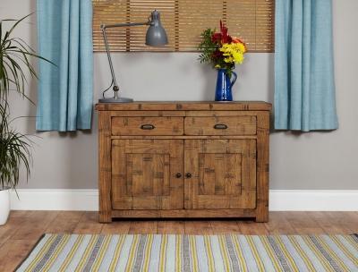 Baumhaus Heyford Rough Sawn Oak 2 Door 2 Drawer Narrow Sideboard