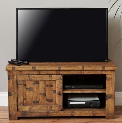 Baumhaus Heyford Rough Sawn Oak Television Cabinet - 1 Door
