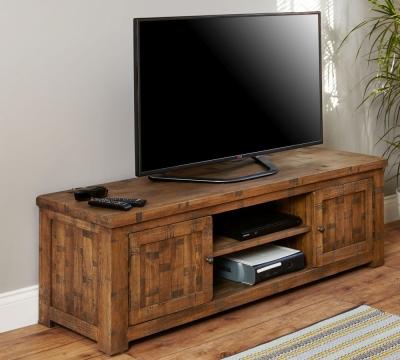 Baumhaus Heyford Rough Sawn Oak Television Cabinet - Widescreen