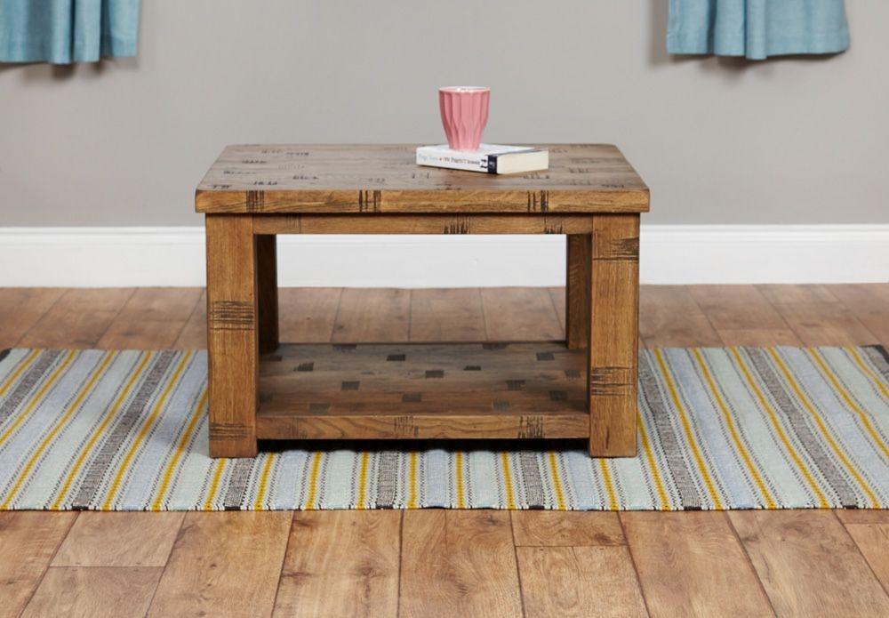 Baumhaus Heyford Rough Sawn Oak Coffee Table - Open