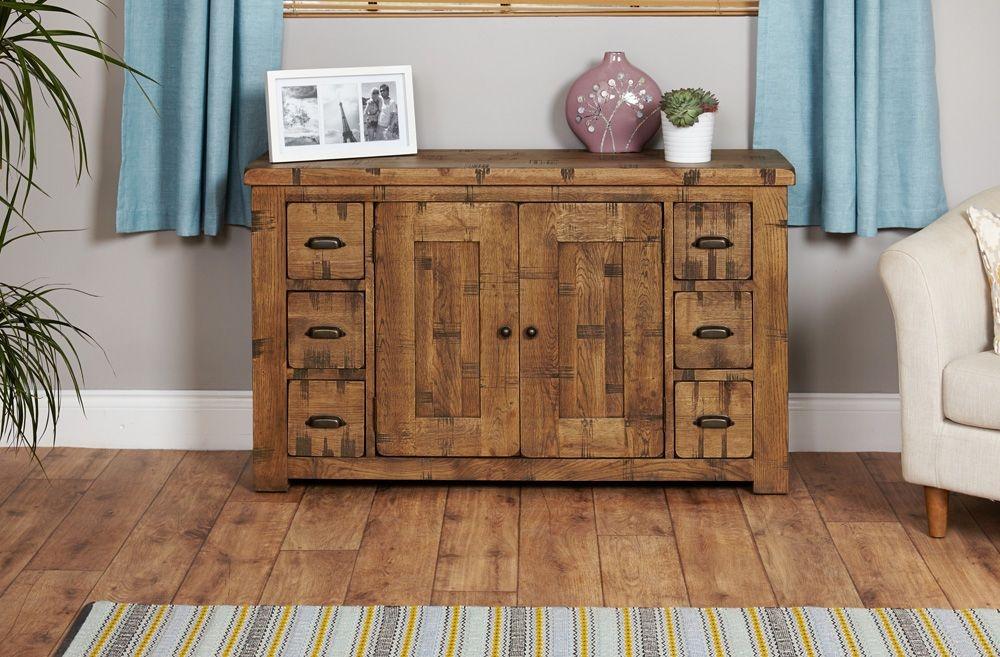 Baumhaus Heyford Rough Sawn Oak Sideboard - Large Wide 6 Drawer