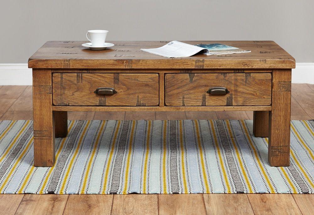 Baumhaus Heyford Rough Sawn Oak 4 Drawer Storage Coffee Table