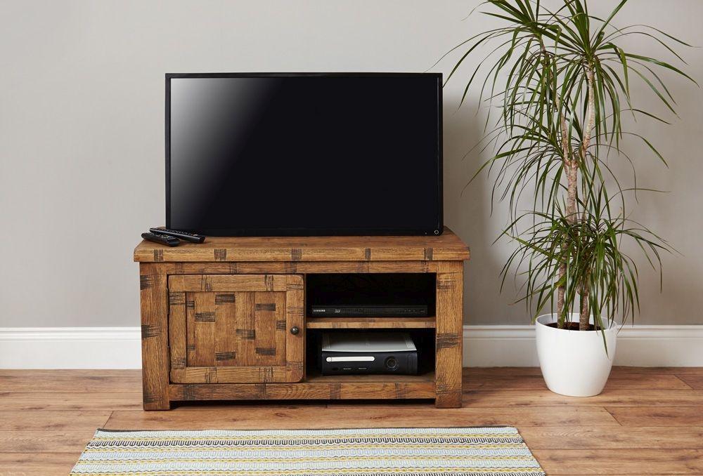Baumhaus Heyford Rough Sawn Oak 1 Door Television Cabinet
