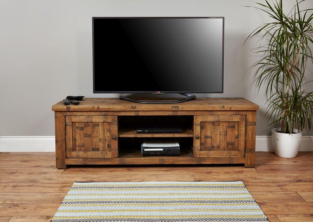 Baumhaus Heyford Rough Sawn Oak Widescreen Television Cabinet