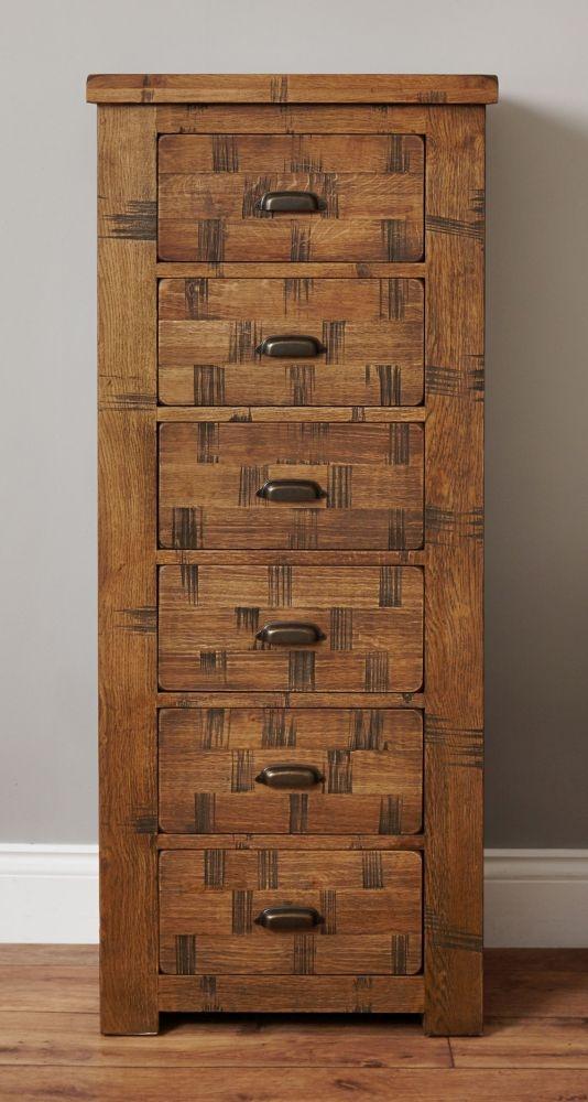 Baumhaus Heyford Rough Sawn Oak Tallboy - 6 Drawer