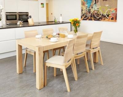 Baumhaus Olten Light Oak Uno Rectangular Extending Dining Set with 8 Ivory Chairs - 140cm-230cm