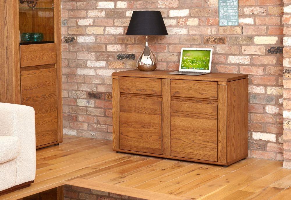 Baumhaus Olten Dark Oak Storage Desk Sideboard - Hideway