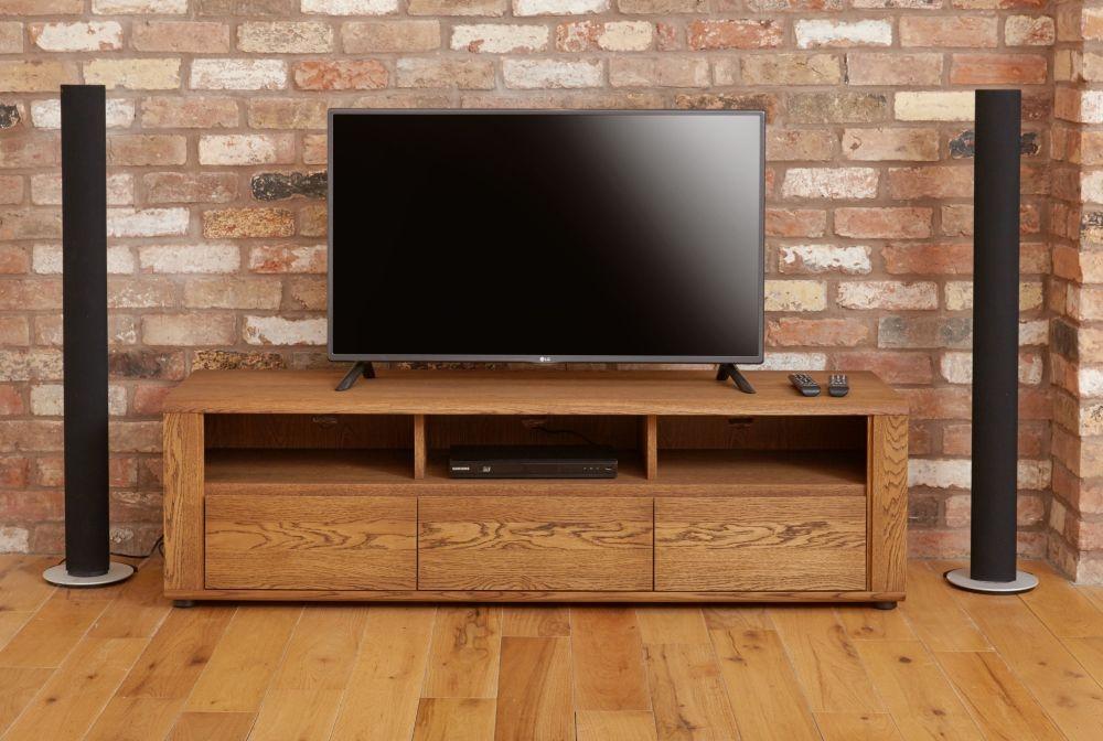 Baumhaus Olten Dark Oak Widescreen TV Cabinet - 3 Drawer