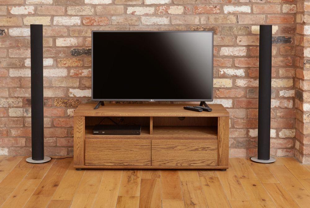 Baumhaus Olten Dark Oak Widescreen TV Cabinet - Small 2 Drawer