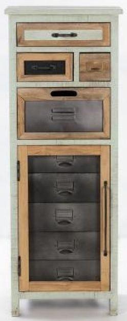 Artisan Painted Tall Boy Storage Cabinet - 1 Door 4 Drawer