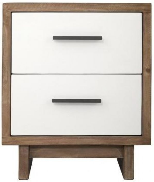 Avoca Pine Satin White Bedside Cabinet - 2 Drawer