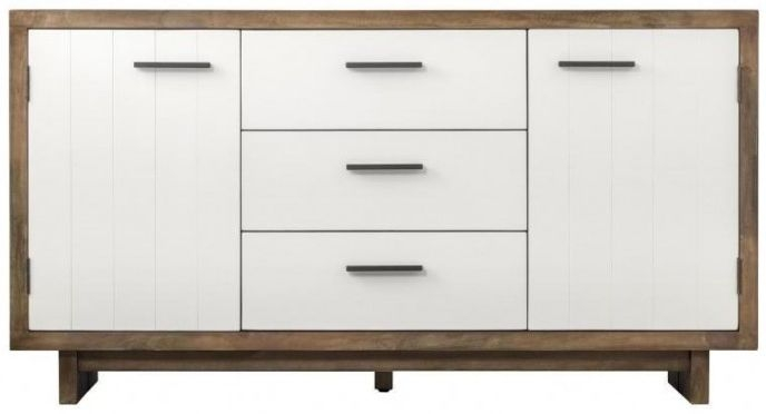Avoca Pine Satin White 2 Door 3 Drawer Wide Sideboard