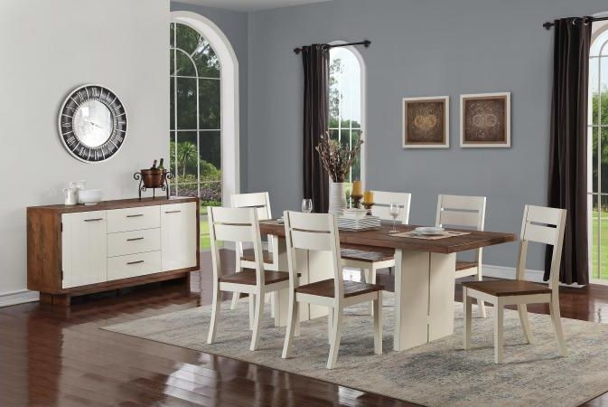 Avoca Pine Satin White Dining Set with 6 Dining Chairs