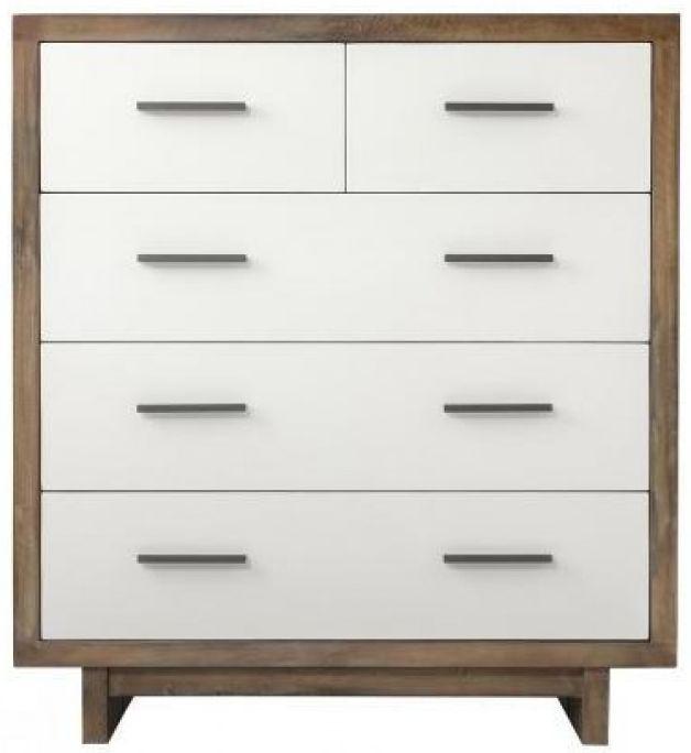 Avoca Pine Satin White 2+3 Drawer Dresser Chest