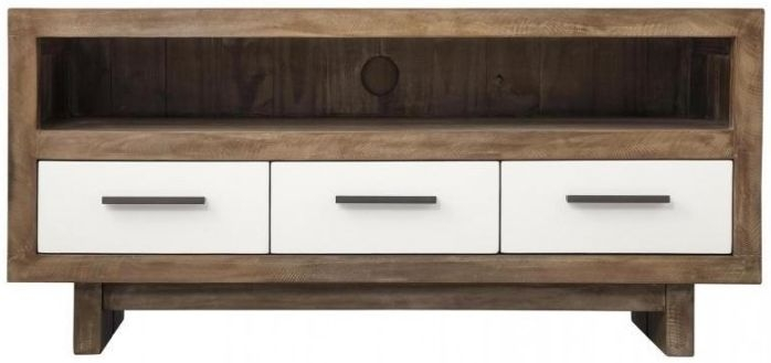 Avoca Pine Satin White 3 Drawer TV Unit