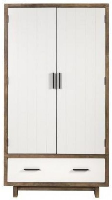 Avoca Pine Satin White 2 Door 1 Drawer Double Wardrobe