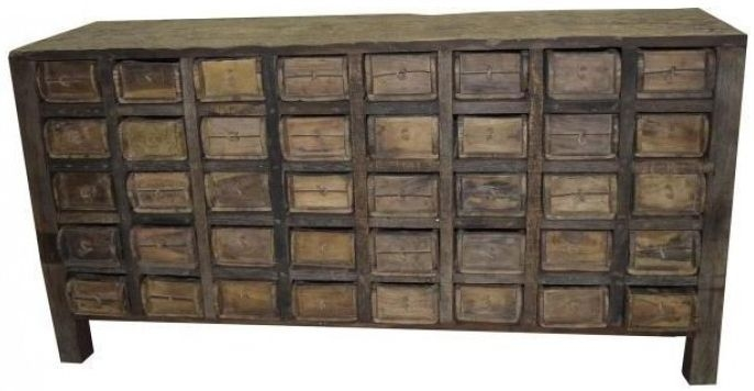 Antique Wide Sideboard with 40 Cataloging Drawer