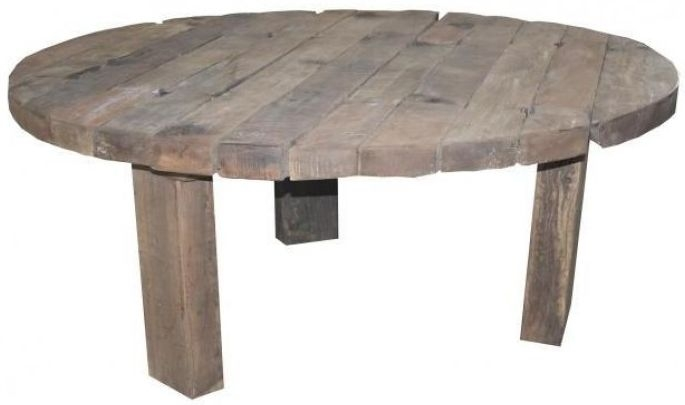 Reclaimed Teak Rustic Plank Round Dining Table - 180cm