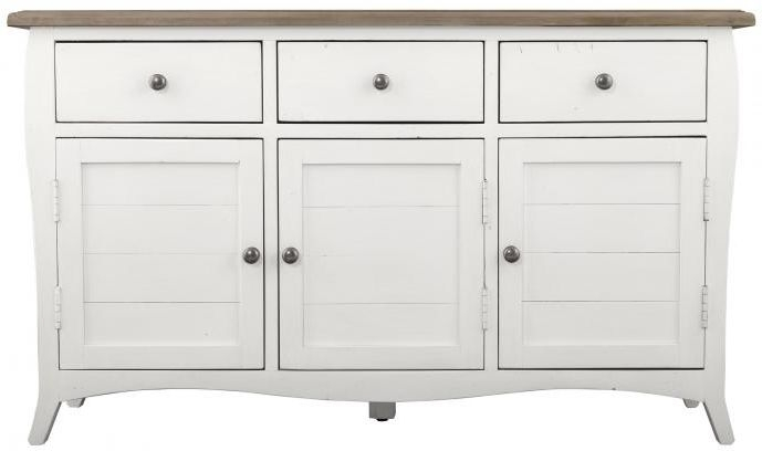 Boulez White Painted Sideboard - Large Wide 3 Door 3 Drawer